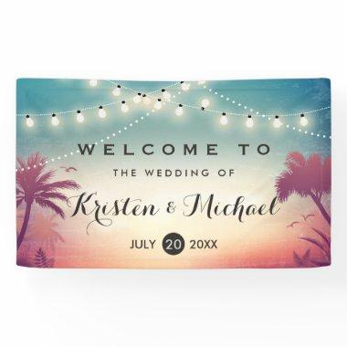 String Lights Summer Palm Trees Wedding Party Banner