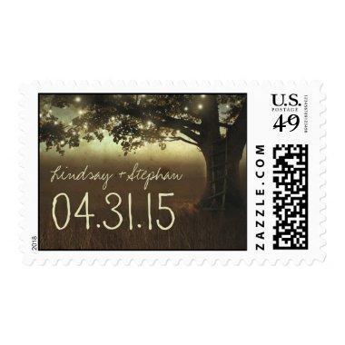 String lights tree postage stamps