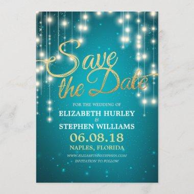 String Lights Turquoise Gold Script Save The Date