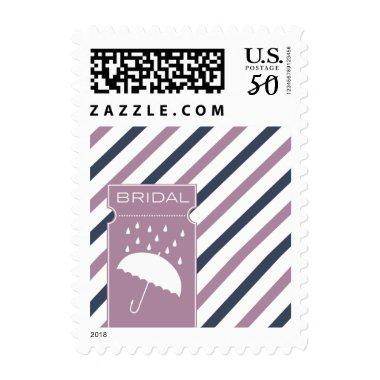 Striped  Stamp with Umbrella