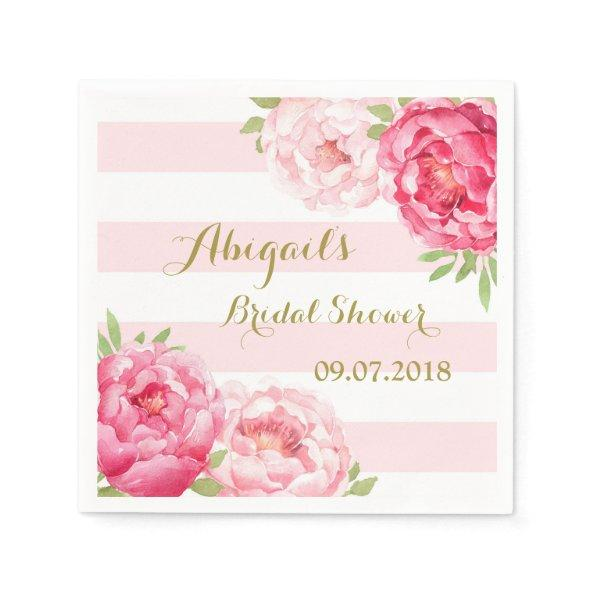 Stripes Pink Watercolor Bridal Shower Napkins