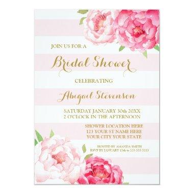 stripes pink watercolor flowers bridal shower invitations