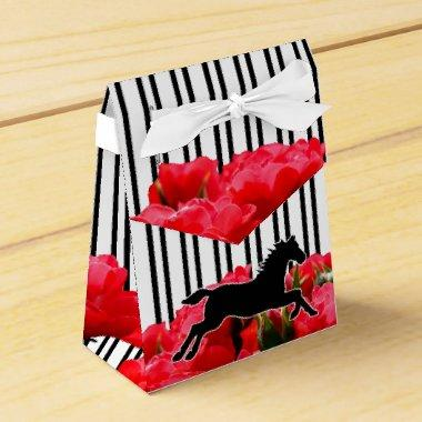 Stripes & Roses Derby Tent Style Favor Box
