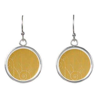 Stunning Elegant Golden Art Deco Swirl Earrings