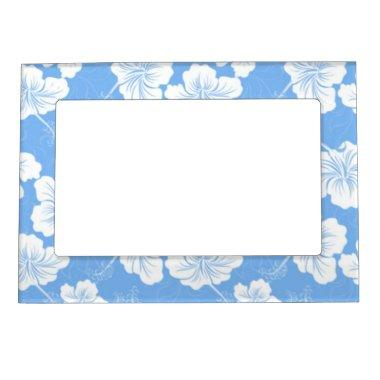 Stylish and Fashionable White Floral on Baby Blue. Magnetic Frame
