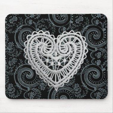 """Stylish Designs"" Crochet Heart/Blk/Gray Mouse Pad"