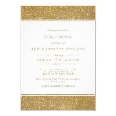 Stylish Faux Gold Glitter  Invite