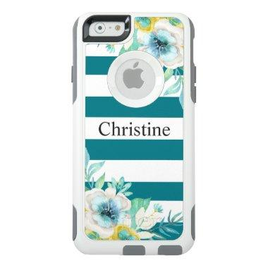 Stylish Floral Watercolor Modern White Stripes OtterBox iPhone 6/6s Case