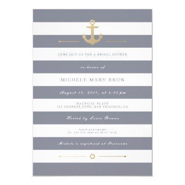 Stylish Grey Striped Nautical  Invite