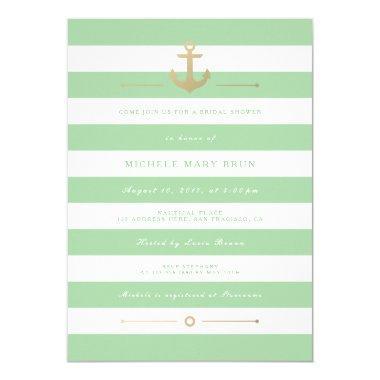 Stylish Mint Striped Nautical  Invite