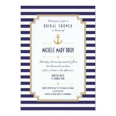 Stylish Nautical Bridal Shower Invitations