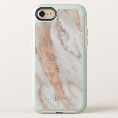 Stylish Rose Gold Elegant White Marble OtterBox Symmetry iPhone 8/7 Case