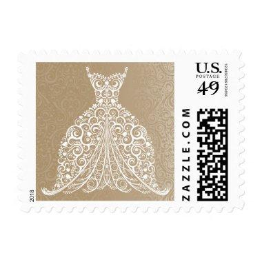 Stylized Lacy Wedding Dress Stamp