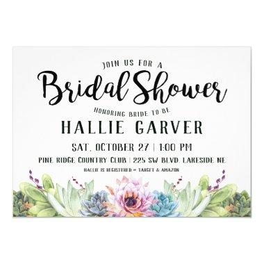 Succulent Bridal Shower Invitations