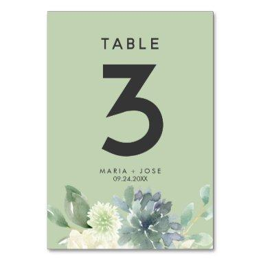 Succulent Greenery Table Number
