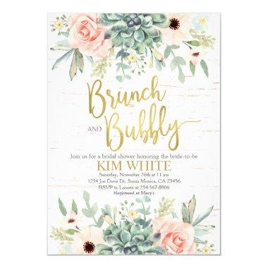 Succulents bridal shower brunch Invitations