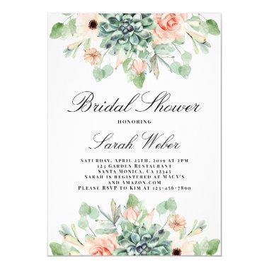 Succulents Bridal Shower Invitations