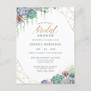 Succulents Gold Frame & Chic Script Bridal Shower Invitation PostInvitations