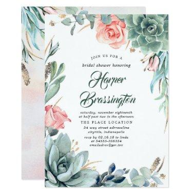 Succulents Greenery and Pink Rose Bridal Shower Invitations