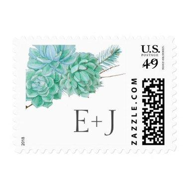 Succulents RSVP or Wedding initials postage 3961