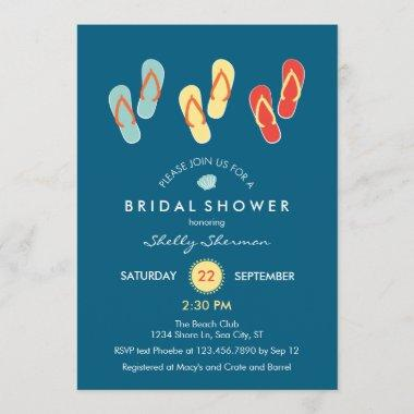 Summer Beach Flip Flops Bridal Shower Invitations