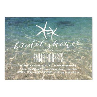 Summer Beach Starfish Bridal Shower Invitations