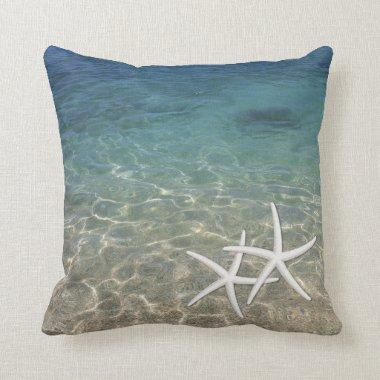 Summer Beach Tropical Blue Ocean Starfish Throw Pillow