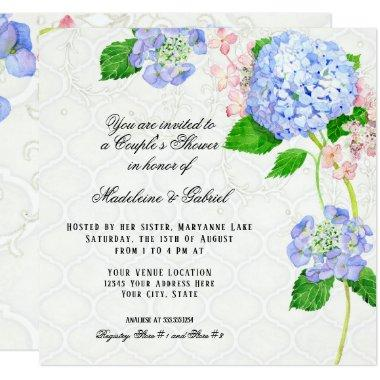 Summer Blue Hydrangea Watercolor Couples Shower Invitations