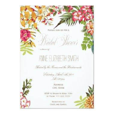 Summer floral Bridal Shower Invitations