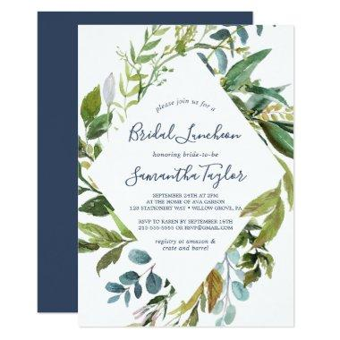 Summer Greenery Diamond Wreath Bridal Luncheon Invitations
