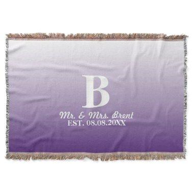 summer lilac ombre purple monograms throw