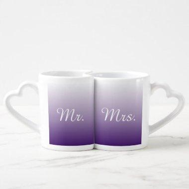 summer lilac ombre purple wedding mr and mrs coffee mug set