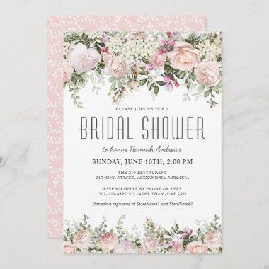 Summer Rose Garden Floral Bridal Shower Invitations