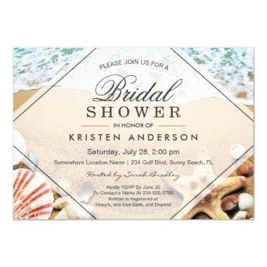 Summer Sandy Beach Starfish Seashell Bridal Shower Invitations