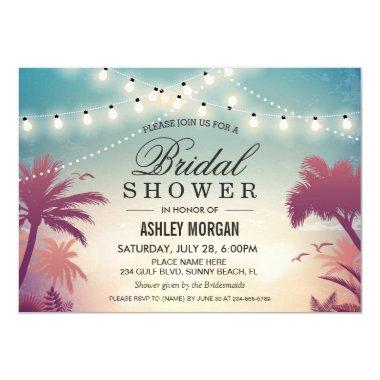 Summer String Lights Sunset Outdoor Bridal Shower Invitations