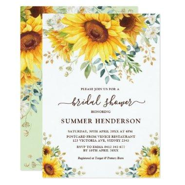 Summer Sunflowers Bridal Shower Yellow Floral Invitations
