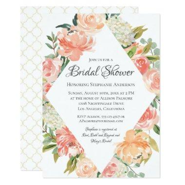 Summer Watercolor Floral Medley Bridal Shower Invitations