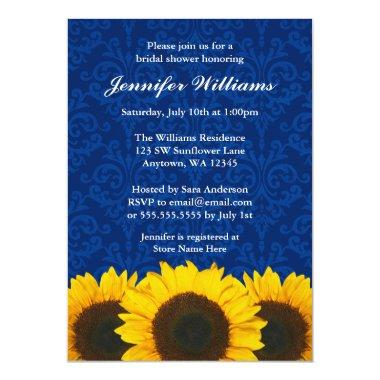 Sunflower Blue Damask Bridal Shower Invitations