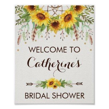 Sunflower Boho Dreamcatcher Bridal Shower Welcome Poster