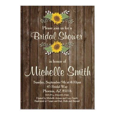 Sunflower  Invitation, Rustic, Floral