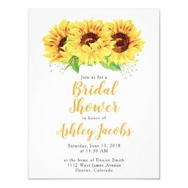 Sunflower Bridal Shower Invitations Watercolor