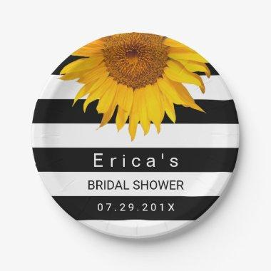 Sunflower  Modern Black White Stripes Paper Plate
