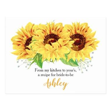 Sunflower Bridal Shower Recipe Invitations