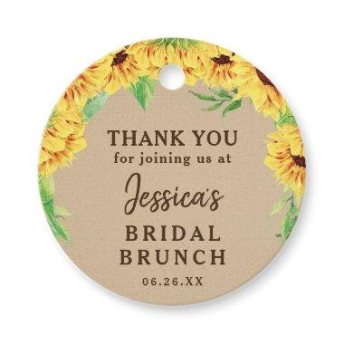 Sunflower Bridal Shower Thank You Favor Tag