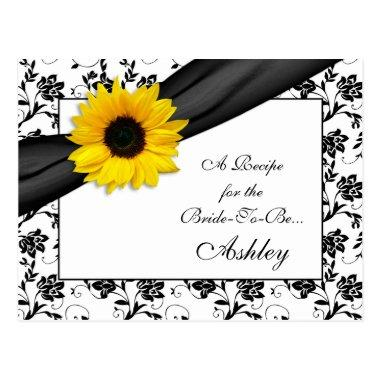 Sunflower Damask Recipe Invitations for the Bride to Be