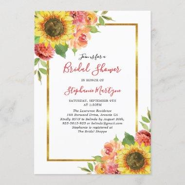 Sunflower Fall Floral Gold Border Bridal Shower Invitations