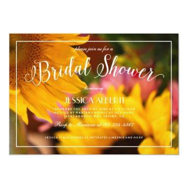 Sunflower Floral Pink yellow  Invite