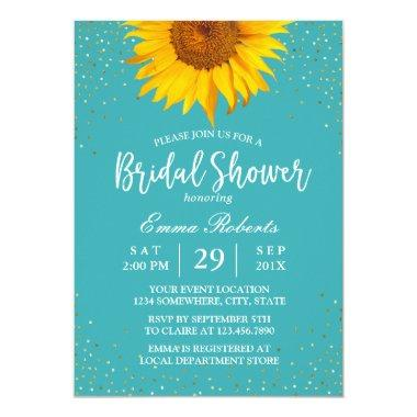 Sunflower Gold Confetti Turquoise Bridal Shower Invitations