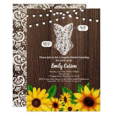 Sunflower lingerie shower Invitations rustic wood