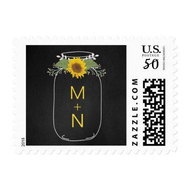 Sunflower mason jar wedding monogram postage